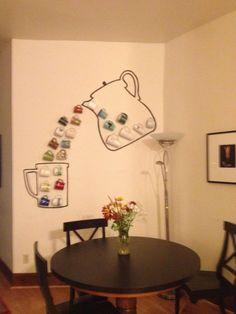 Coffee Mugs Display bar ideas diy mug display Tea Cup Display, Coffee Mug Display, Coffee Cups, Coffee Bar Home, Home Coffee Stations, Coffee Corner, Coffee Shop Design, Cafe Design, Diy Apartment Decor