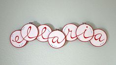 Baby's name spelled out on embroidery hoops!