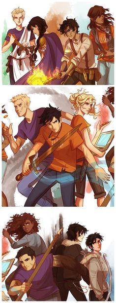 First slide: Augur Octavian (you little murderer of PERCY'S PANDA) Praetor Reyna Avila Ramirez-Arellano, Leo Valdez and Piper McLean. Second: Jason Grace, Percy Jackson and Annabeth Chase. Third: Hazel Levesque, Frank Zhang, Nico Di Angelo. and Thaila Grace by Kasey