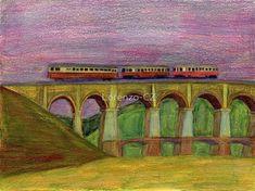 """Diesel railcar on viaduct"" by Lorenzo-CZ Canvas Prints, Framed Prints, Art Prints, Art Boards, Colored Pencils, Travel Mug, Diesel, Wall Art, Artist"