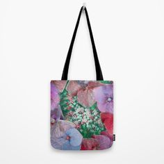 Hydrangea, pattern, purple, emerald, blue, decorative #totebag #society6 #maryberg #textile #summerflowers #hydrangea  #womendesign #red #blue #emerald  #purple
