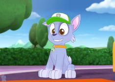 Happy Rocky (paw patrol) Lps Pets, Paw Patrol, Mlp, All Art, Rainbow, Happy, Fictional Characters, Rain Bow, Rainbows