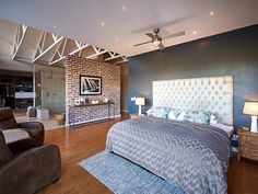 How about this open plan master bedroom? Notice the ceiling above the bathroom / walk-in closet!