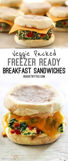 Veggie Packed Freezer Ready Breakfast Sandwiches are a filling, delicious, and microwavable make ahead breakfast for busy mornings. @budgetbytes