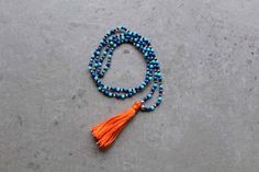 Beaded Tassel Necklace || Bright Blue and Orange || Seed Beads by LAcreativeNZ on Etsy