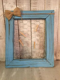 Chicken wire Frame, Rustic Chicken wire Frame, Turquoise Picture Frame, Memo Board by BowtiqueBurlap on Etsy