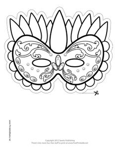 Festive Mardi Gras Mask to Color Printable Mask