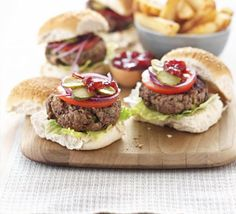 Homemade burgers and chips beat shop-bought every time. Why not make double and freeze a batch?, from BBC Good Food Magazine. Cheese Burger, Freezable Meals, Freezer Meals, Freezer Recipes, Beef Recipes, Bbc Good Food Recipes, Cooking Recipes, Yummy Food, Burger And Chips