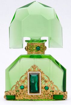 Perfume Bottle; Czechoslovakian Glass, Green, Filigree Trim, Green Stopper, 5 inch.