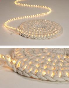 Crochet around a rope light to create a light-up rug. One day I will crochet and this would be awesome :)