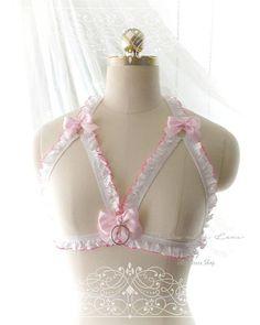 936dc08538 DDLG Daddys Girl Body Harness White Hot Pink Trim Ruffles Bow O Ring Stretch  Cage Bondage Bra Bralette