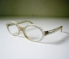 68771f9805 1950 s Clear Plastic and Rhinestone eyeglass Frames - Ready for  Prescription or Dark Glass - Mid Century Modern -French