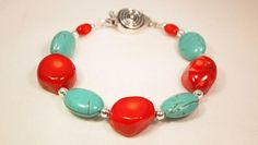 Turquoise and Coral  Beaded Bracelet CKDesignsus by CKDesignsUS, $34.50