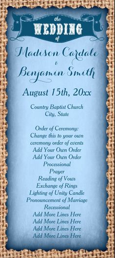 Rustic Country Blue Wedding Program Template.  Easy to edit two sided vertical wedding program for cheap.  #wedding