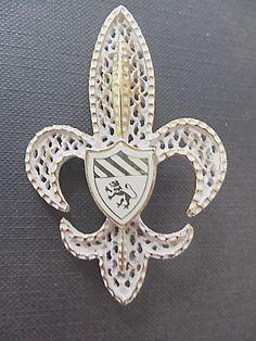 Fleur di lis Brooch Crest and Shield by VintageVogueTreasure