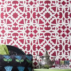 Our Modern Moroccan Lace Wall Stencils with easy-to-use registration marks allow you to easily repeat across your wall perfectly every time. Create a bold and exotic stenciled wallpaper effect in your