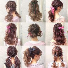 Pin on Estilo peinado Pin on Estilo peinado Kawaii Hairstyles, Pretty Hairstyles, Easy Hairstyles, Ribbon Hairstyle, Curly Hair Styles, Natural Hair Styles, Lolita Hair, Mode Kawaii, Curly Hair Problems