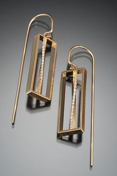 Bead Set Stem Earrings by Ann Cahoon: Gold & Stone Earrings available at www.artfulhome.com