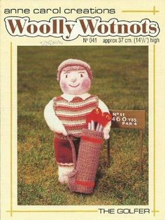 "PDF Woolly Wotnots Knitting Pattern – The Golfer by Anne Carol Creations. 041 "" high figure) by DorothyLauderArt on Etsy Knitting Patterns, Crochet Patterns, Knit Crochet, Crochet Hats, Knitted Dolls, My Collection, Vintage Knitting, Handmade Toys, Pattern Paper"