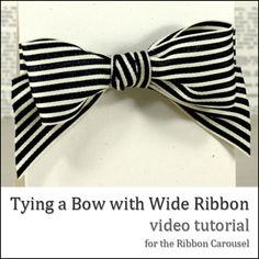 Tying A Bow With Wide Ribbon ~ - Best video with tips on parts of bow that control size of tails and size of loops. Don't think your ribbon will look like a bow tie. This worked great on large Christmas ribbons. How To Tie Ribbon, How To Make Bows, Ribbon Bows, Ribbons, Tying Bows With Ribbon, Ribbon Cards, Tie Bow, Fabric Bows, Grosgrain Ribbon