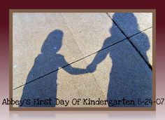 Shadow picture: It was a beautiful sunny day...my youngest daughter's first day of kindergarten.  We saw our shadows and I snapped this picture :) A great way to capture such a special memory ♥