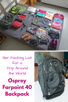 I'm on a trip around the world with only my Osprey Farpoint 40 Backpack as carry-on. Check out my packing list on wandering. Backpacking Packing List, Her Packing List, Packing For Europe, Packing Tips For Travel, Backpacking Thailand, Travel Hacks, Packing Ideas, Packing Cubes, Ultralight Backpacking