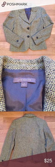 Ann Taylor Tweed Jacket EUC purple and green and lovely dresses up or down Ann Taylor Jackets & Coats Blazers