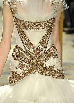 Marchesa Fall/Winter 2012 cream and gold evening gown