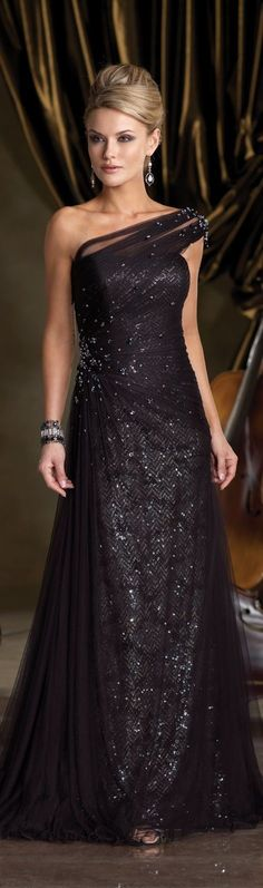 Black Sparkly Evening Gown