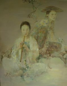 The Music Lesson, paintings by Hu Jun