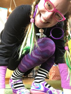 purple leggings plus black and white socks equal Gudrun Sjoden fantastico! http://rachelawes.com