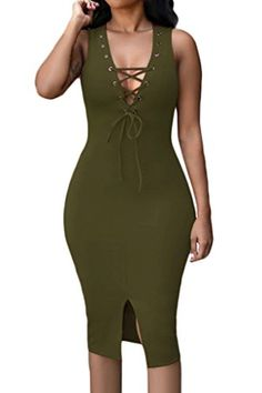 Dearlovers Women Vintage Front Straps Tunic Casual Party Pencil Dress Small Olive *** Click image to review more details.
