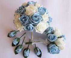Light blue and ivory bundle #bouquet #buttonholes #posy #ivory #blue #wedding #bride #bridesmaids #flowers #roses