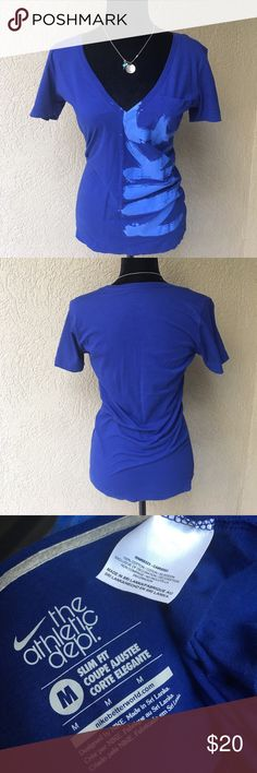 "🆕Nike deep vneck slim fit tshirt Nike slim fit tshirt with a deep vneck - NEVER WORN. Deep royal blue color with light blue NIKE up the front - really cute! 16.5"" Bust 26.5"" length ✅I ship same or next day ✅Bundle for discount Nike Tops Tees - Short Sleeve"