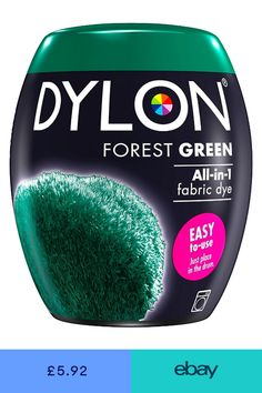 DYLON Washing Machine Fabric Dye Pod for Clothes & Soft Furnishings, – Forest Green Formula Cans, Textiles, Green Fabric, How To Dye Fabric, Beautiful Bedrooms, Easy To Use, Light Shades, Hobbies And Crafts, Drum