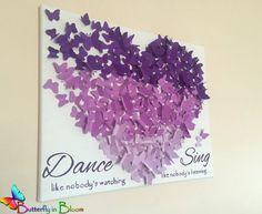 20' x 20 3D Purple Ombre Butterfly Wall Art by TheButterflyInBloom