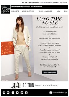 Reengagement Email Saks Fifth Avenue #renengagment #emailmarketing