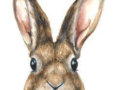 Bunny Painting  5x7 Original Watercolor  by DustyShamrockStudio