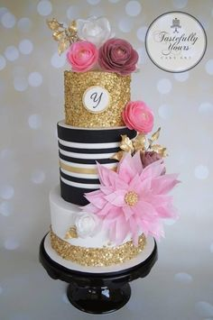 Wafer Wonderland - Cake by Marianne Bartuccelli : Tastefully Yours Cake Art… Gorgeous Cakes, Pretty Cakes, Fondant Cakes, Cupcake Cakes, Kate Spade Cake, Sequin Cake, Black And Gold Cake, Wafer Paper Flowers, Cakes For Women