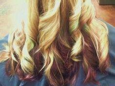 Blonde, Maroon & Green Hair