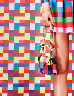 Rainbow print #neckerchiefscarf wrapped aroundgeometric printbag's handle. Valentino Resort 2015 #scarf #bag