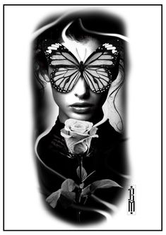 butterfly face tattoo woman design digital black and grey tattoos