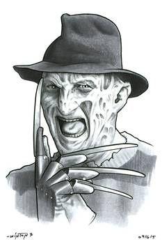 Freddy Krueger - A Nightmare on Elm Street My first Springwood Slasher! Horror Villains, Horror Movie Characters, Horror Cartoon, Horror Icons, Scary Drawings, Dark Art Drawings, Freddy Krueger Drawing, Freddy Krueger Mask, Horror Movie Tattoos