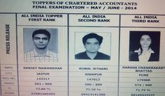 | #Toppers of #CAFinal May/June 14 |  #GaapBright Congratulates All the Rank Holder of #CAFinal May/June Attempt  All India Topper First Rank --- Sanjay Nawandhar,Jaipur  All India Topper Second Rank --- Kunal Jethani,Jodhpur  All India Topper Third Rank --- Harsha Chandrakant Bhattad,pune  For More Updates   Stay Connected- http://www.gaapbright.com/