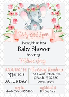 Baby Elephant Floral Shower Invitation features a cute baby elephant with a floral crown surrounded by pink flowers. Perfect for a baby girl shower. Diy Baby Shower Centerpieces, Baby Shower Favors, Baby Shower Themes, Baby Shower Decorations, Baby Boy Shower, Baby Shower Gifts, Baptism Centerpieces, Floral Decorations, Baby Favors