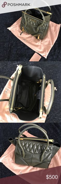 Authentic Miumiu army green top handle cross body Authentic. Comes with detachable straps inside. Great condition. No flaws! Only used a couple times! Comes with dust bag and I still have the bag from the store as well if you want it! Miu Miu Bags Crossbody Bags