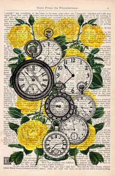 Book print Watch collage dictionary book Clocks over Roses Vintage print or image for any DIY paper craft project. Great for use when creating your own party or holiday decorations. Use this as inspiration for your own made by hand crafts. Vintage Prints, Vintage Art, Vintage Books, Vintage Paper, Book Clock, Clock Art, Wall Clocks, Newspaper Art, Images Esthétiques