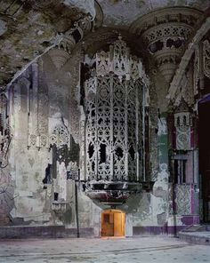 """""""american gothic"""" detroit, michigan (Andrew Moore, For perspective, that's a doorway at the bottom of the iron cage. Part of the crumbling United Artists Theater in Detroit, Michigan. Abandoned Buildings, Abandoned Asylums, Old Buildings, Abandoned Places, Abandoned Castles, Abandoned Detroit, Beautiful Architecture, Beautiful Buildings, Beautiful Ruins"""