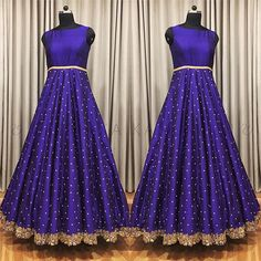 in - - Ethnic blue sleveless anarkali with gold cut work border embroidered on it and aari work all over the anarkali dress. 03 December 2017 Source by acheivermahesh Long Gown Dress, Sari Dress, Anarkali Dress, Long Frock, Saree Blouse, Indian Wedding Gowns, Indian Gowns Dresses, Half Saree Designs, Lehenga Designs