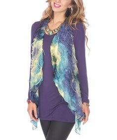 Take a look at this Teal Chiffon Vest by Lily on #zulily today!